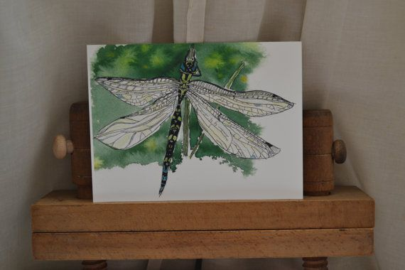 Dragonfly on the River Test: cream card and by sarahNetLtd on Etsy