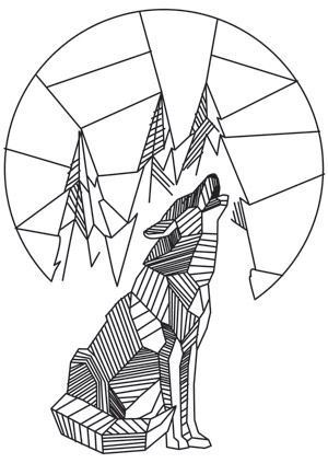 Craft a uniquely wild look with this geometric wolf design. Downloads as a PDF. Use pattern transfer paper to trace design for hand-stitching.