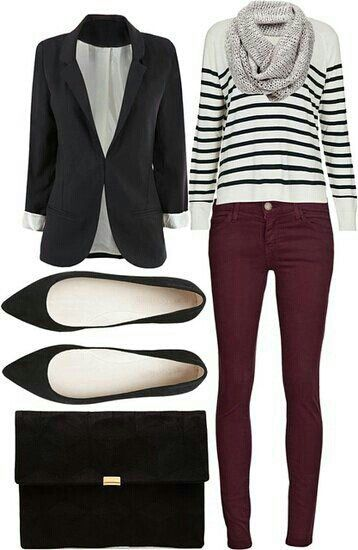 Plum jeans, fun striped sweater and black blazer http://chicanduniqueboutique.weebly.com or www.chicburlington.com                                                                                                                                                     Más