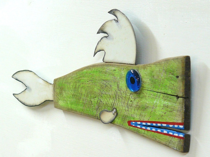 SUSHI Ormon 2 - Reclaimed wood and recycled steel wall art fish