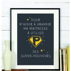 Affiche super-pouvoirs maîtresse d'école #cadeau #maitresse #ecole #findannee #enfant