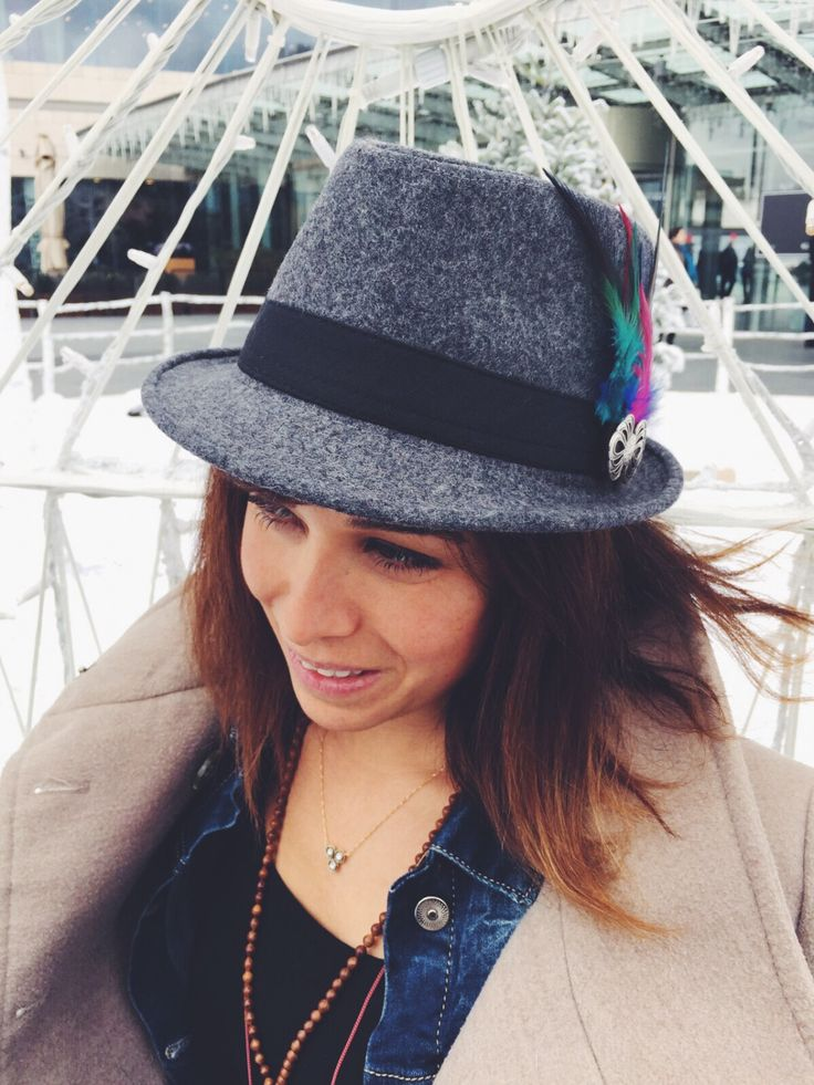 Fedora felt hat for women - Gray felt hat - Winter hat for women - Women hats - Classic fedora hat with hand made accessory by HELIXSIS on Etsy