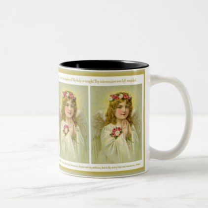 Vintage  Girl Angel with roses Memorare Prayer Two-Tone Coffee Mug - girl gifts special unique diy gift idea