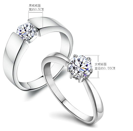 2PCS/LOT Couple 925 Sterling Silver Rings,One Cubic Zirconia Stone Inlay, Wedding Ring Set For Women/Men, Free Shipping Ag004R