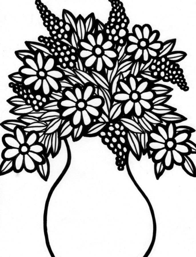 Print Flower Vase Coloring Pages Or Download Flower Vase Coloring