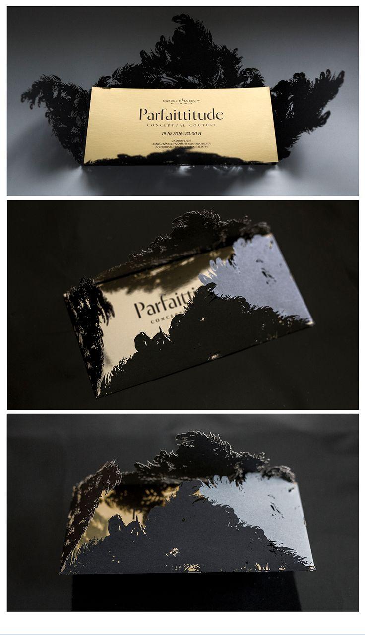 #invitation #fashion #identity #gold #paper #black #swan #typography