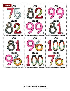 J'AI de 75 à 100 - Il n'y a que 24 cartes... a etaler la sauce si vous avez plus d'eleves, comme nous...