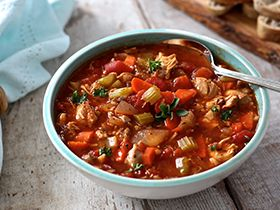 This slow-cooker chicken, veggie and brown rice soup is also a freezer pleaser!