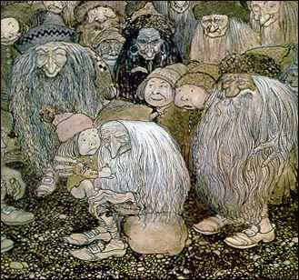 John Bauer was influenced by the efforts of Arthur Rackham and Edmund Dulac. And there was a cross-fertilization of ideas and styles. The gnomes above owe a debt to the little men in Rackham's Rip Van Winkle, while several images from Rackham's The Rhinegold and The Valkyrie can be traced to elements and compositions right out of Bauer. Dulac and Kay Nielsen were also inspired by what was happening across the North Sea, Nielsen especially was fond of the profiled compositions Bauer…