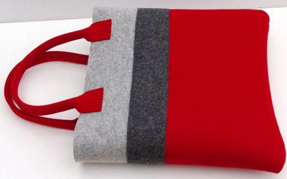 Borsa fatta a mano feltro rosso e grigio Shopper Shopping