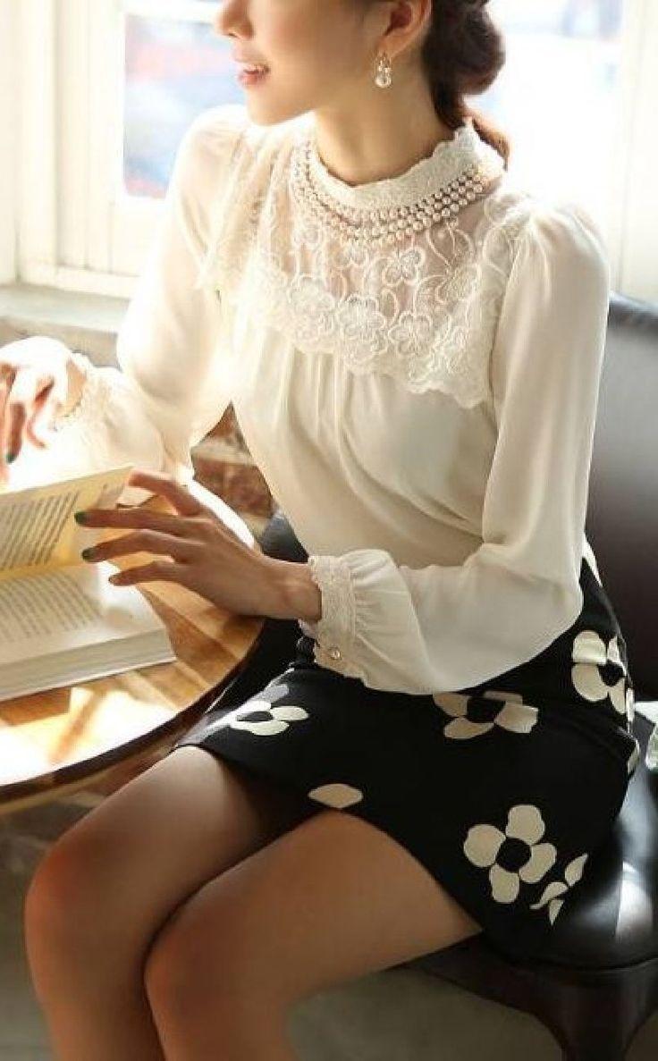 Amazon.co.jp: 優雅 ! レース 切り替え シフォン 長袖 ブラウス シャツ エレガント スタイル レディース ファッション / ホワイト / S M L XL 大きい サイズ あります! (ホワイト, S): Amazonファッション