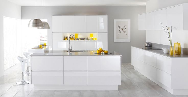 #White high gloss kitchen #cabinets #contemporary