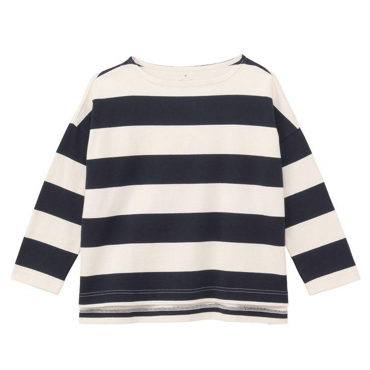 オーガニックコットン太番手ドロップショルダー七分袖Tシャツ 婦人M・ネイビー×生成(太) | 無印良品ネットストア