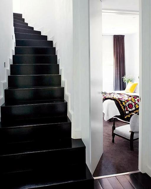 high gloss black stairs