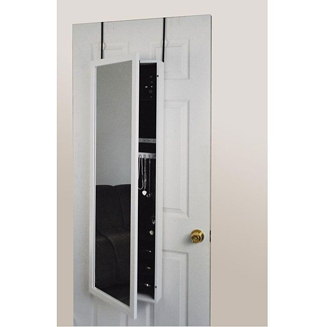Attractive Over The Door Mirrored White Jewelry Armoire