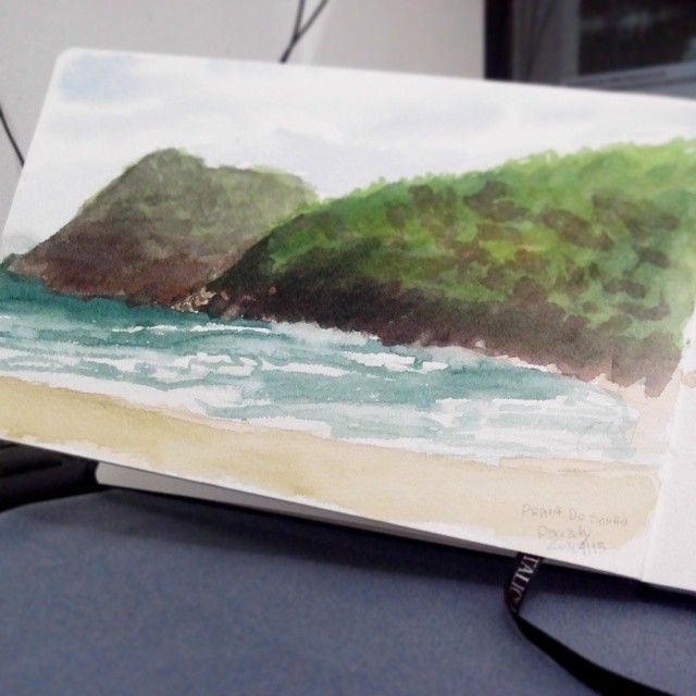 Aquarela Plein air na Praia do sono - Paraty - RJ. Pentalic sketchbook. #pleinair #paraty #parati #watercolor #aquarela #pentalicsketchbook #pentalic #sketchbook