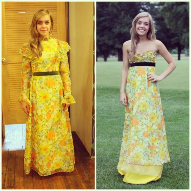 A High School girl bought a vintage dress and remade it into an amazing prom dress... I'm impressed!!