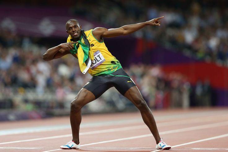 La posició victoriosa d'Usain Bolt, després de guanyar les 200 m als Jocs Olímpics de Londres 2012.