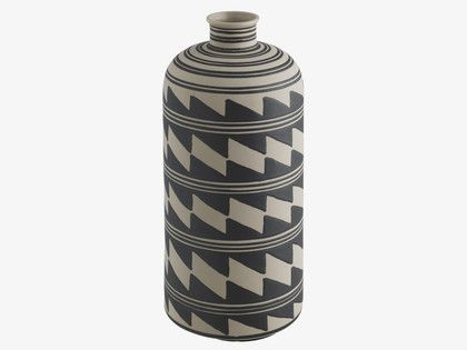 KAVITA MULTI-COLOURED Ceramic Black and white ceramic bottle vase - HabitatUK