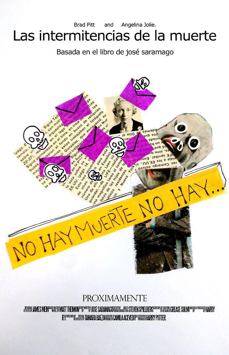 """Proyecto afiche """"Las Intermitencias de la Muerte"""". Vanessa Belmar."""