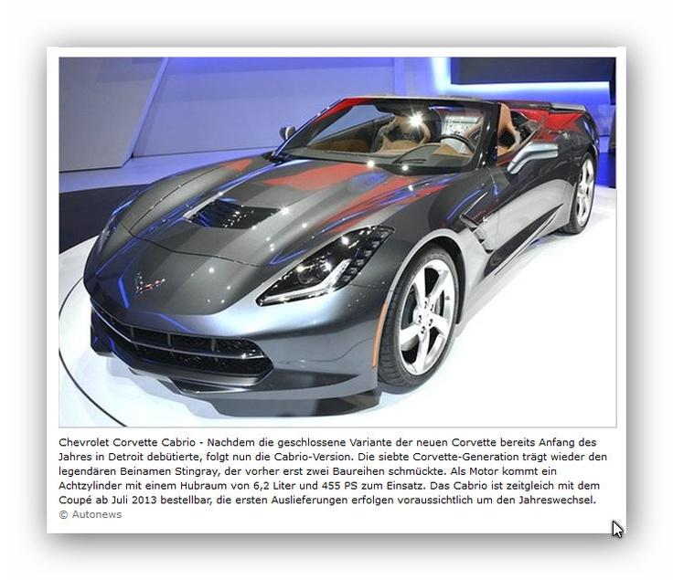 Chevrolette Corvette Cabrio