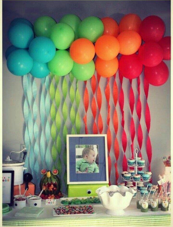 Cascada de colores con globos adornos fiesta ni o - Ideas para cumple de ninos ...