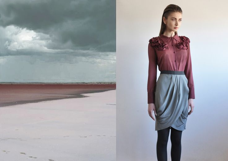 Aroma30 -  Silk georgette shirt with roses / silk crepe skirt with pleats