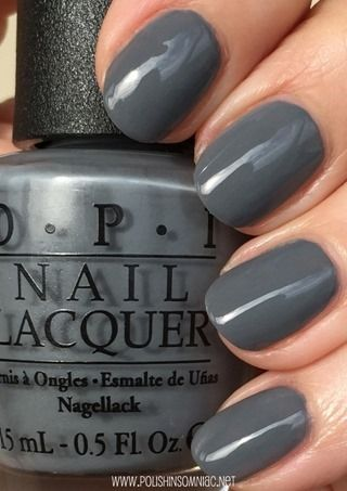 OPI Embrace The Gray. Medium gray, applies very easily, my new favorite go-to neutral polish