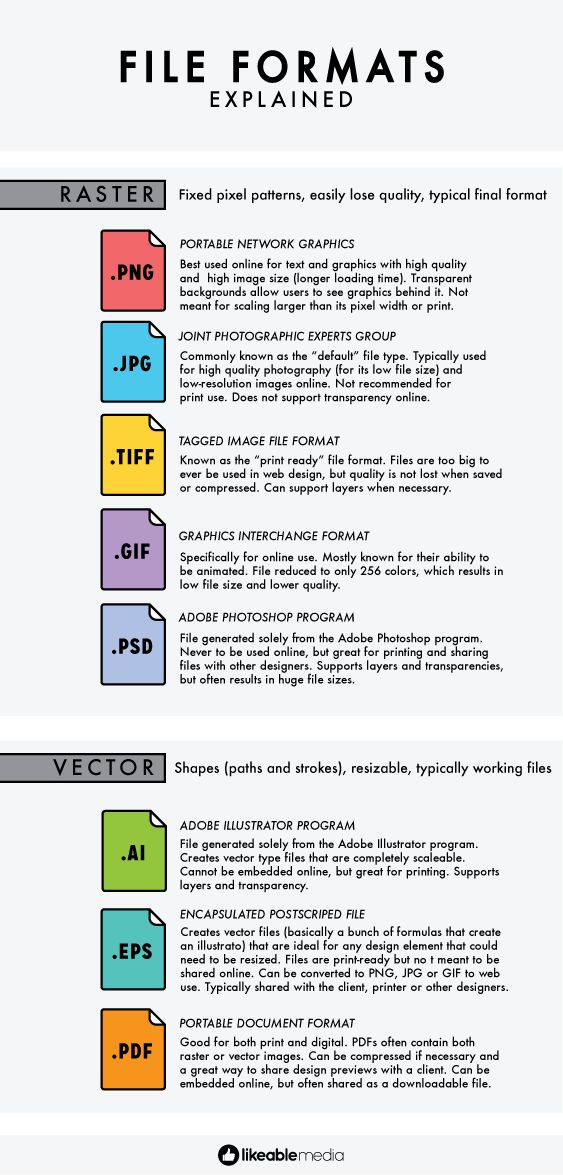 INFOGRAPHIC: A cheat sheet for those pesky file types. Learn to tell your .PNGs from your .JPGs.