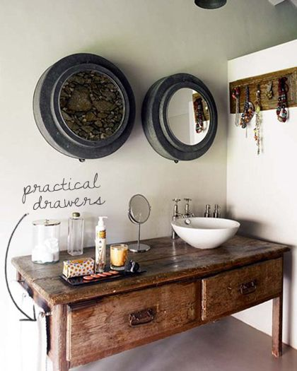 repurposed table, well done transition into sink.