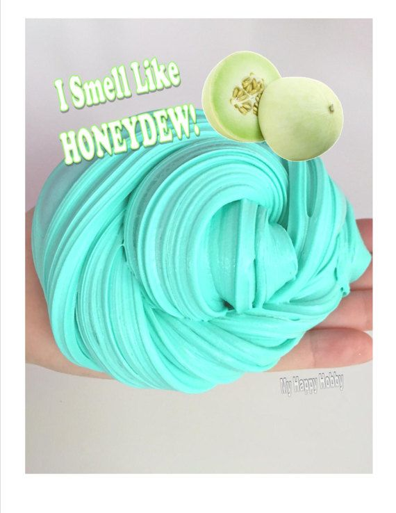 Homemade Honeydew Melon SCENTED Fluffy Slime by MyHappyHobbySlimes