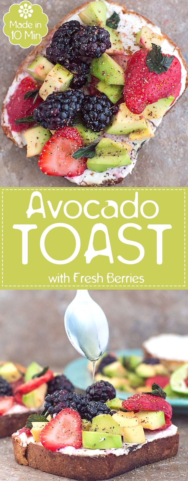 This is a Quick Avocado Toast Recipes with Vegan Cream Cheese Spread. Topped with Fresh Strawberries and Blackberries, Flavored with Agave and Lime Juice #ad #MorningsWithSwirl #BakedWithCare | Quick breakfast, easy breakfast, vegan breakfast, breakfast for kids