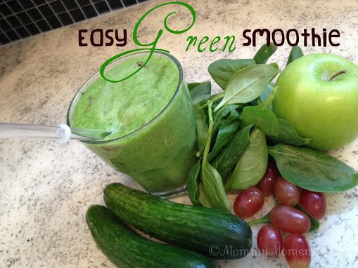 1 large cucumber (or 2 small)  1 green apple  red grapes  spinach  water (a few TBSP)