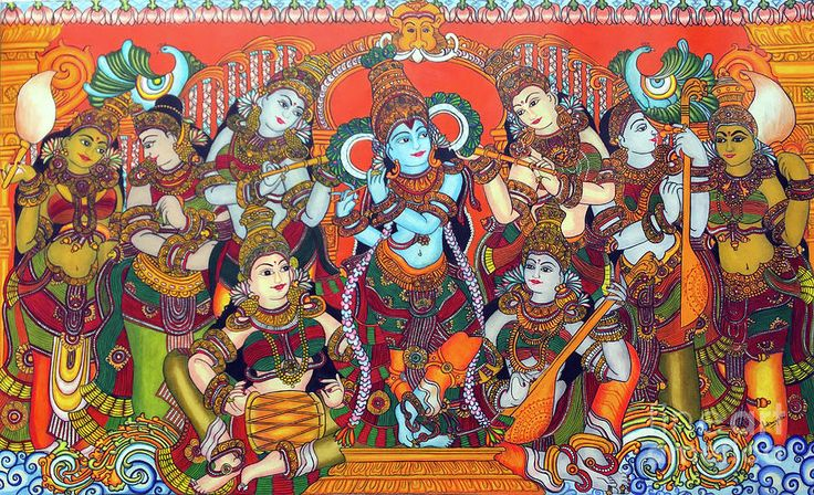 Krishna Leela Drawing by Sukkanya Ramanathan