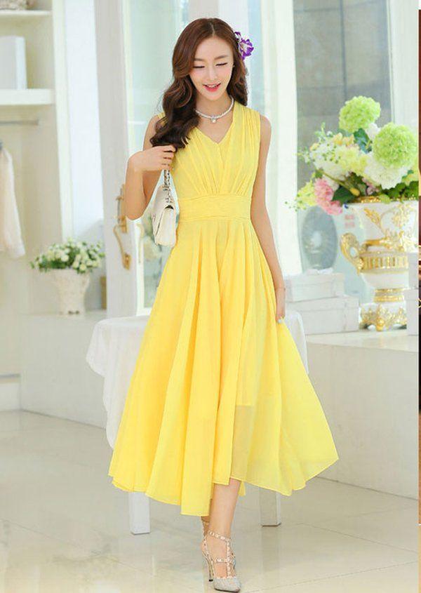 Mẫu váy đầm dự tiệc cao cấp dáng xòe gam màu vàng cá tính