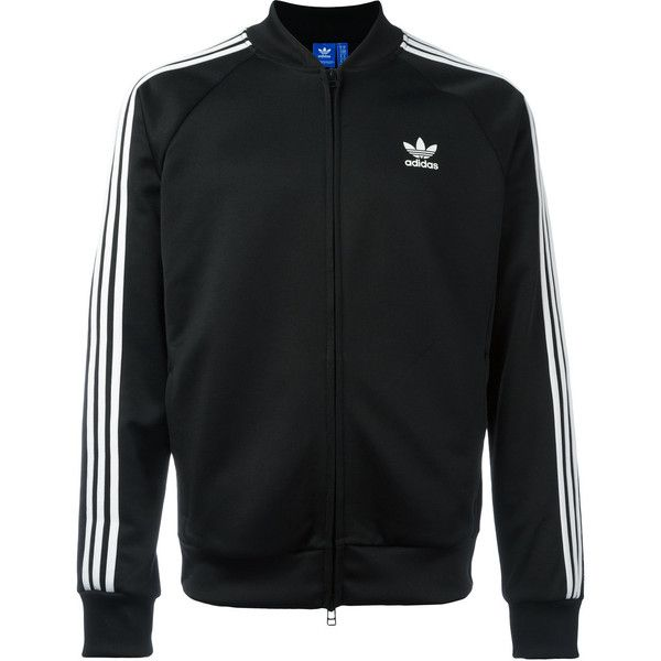 Adidas Originals SST Relax track jacket ($63) ❤ liked on Polyvore featuring men's fashion, men's clothing, men's activewear, men's activewear jackets and black