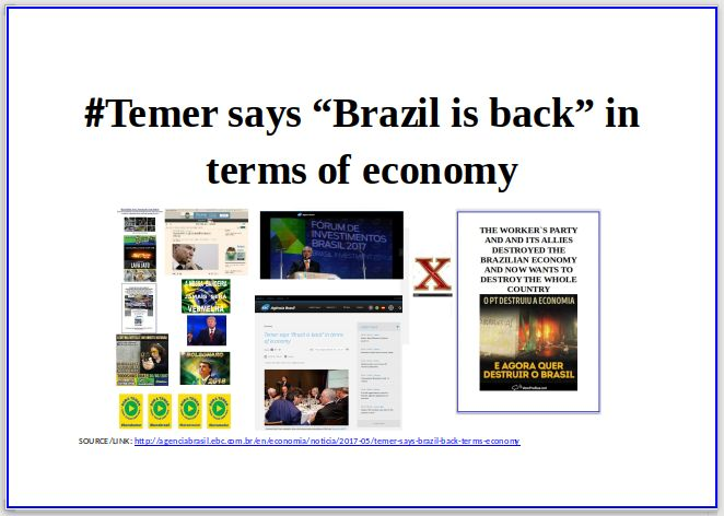 """BRADO EM UNÍSSONO/THE CRY IN UNISON:  #Temersays """"Brazil is back"""" in terms of economy ..."""