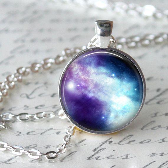 NEBULA Necklace Pendant Hipster Galaxy by LiteraryArtPrints