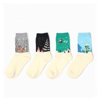 Новогодние снежинки олени санта-клауса носки праздничных подарков осень зима смешные носки Chaussette Calcetines носки для оптовая продажа