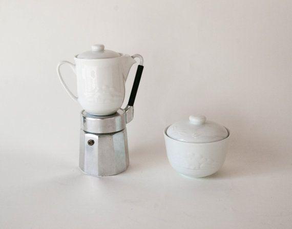 Vintage Stovetop cafetière italienne - OMG Bialetti - bec noir - cruche et bol de sucre inclus - Made in Italy