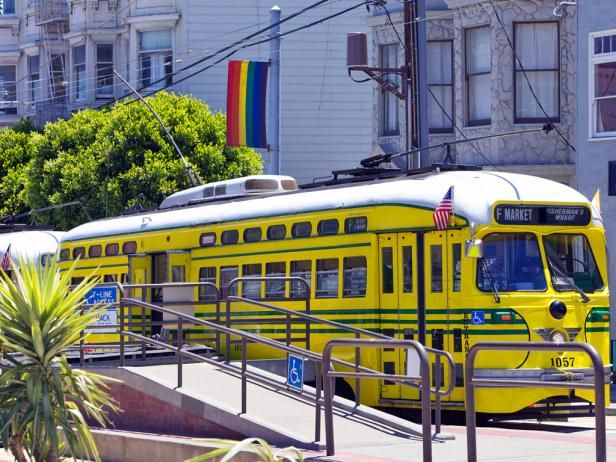 Vintage streetcar in the Castro District