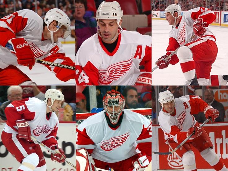 Fedorov, Chelios, Hull, Lidstrom, CuJo, and Shanahan