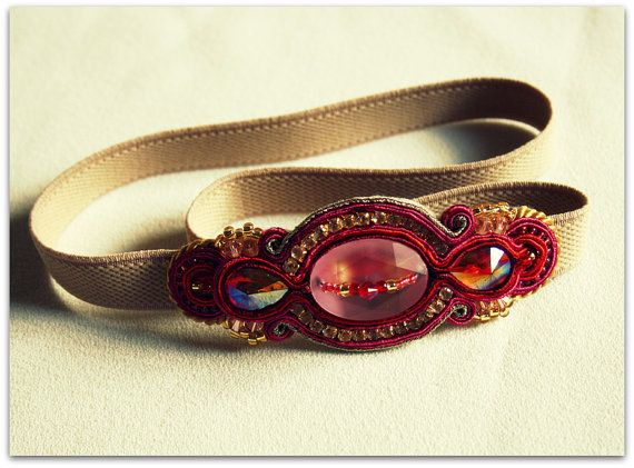 Red & Gold. Soutache Headband. Head band On by ArtGalleryButterfly, $36.00