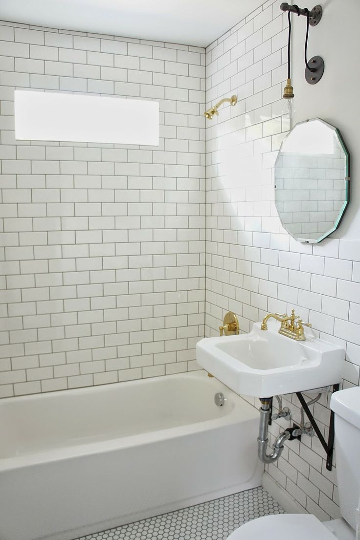 Industrial bathroom fixtures - Chic Design Investments Vintage Industrial Bathroom With Subway Tile And Brass Fixtures