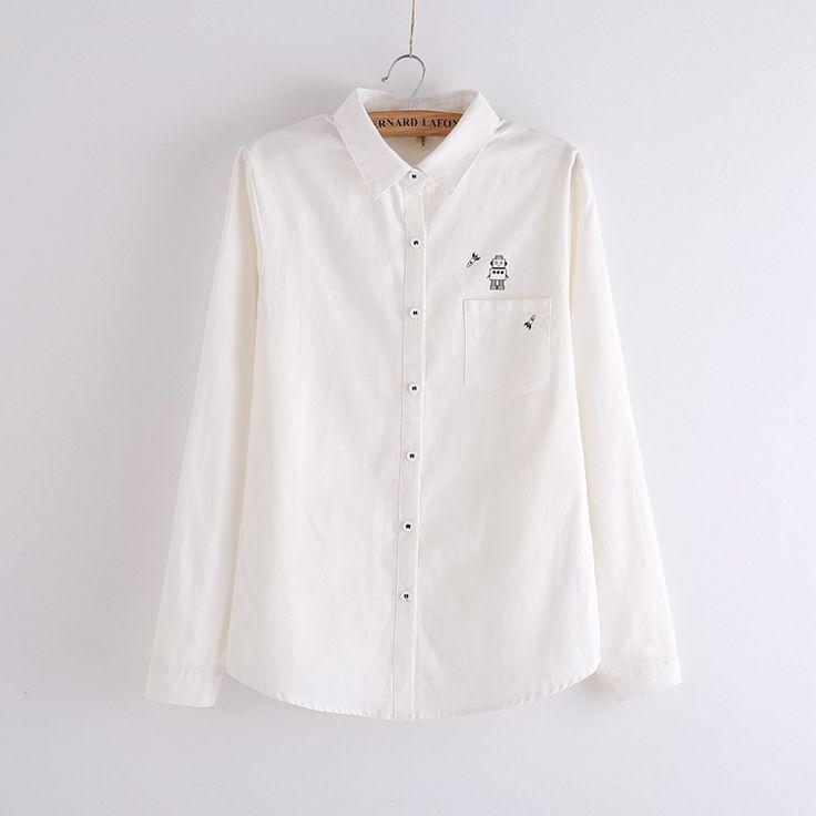 Купить G013 женщин весна и осень винтаж твердые хлопка блузка с длинными рукавами милый характер печать белые рубашки свободного покроя топы Blusasи другие товары категории Блузки и рубашкив магазине YeetnнаAliExpress. рубашка холлистер и футболка камуфляж