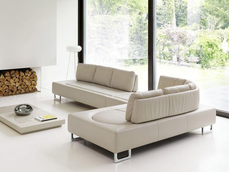 DS-165 moderní sedací souprava v bílé kůži / living room sofa