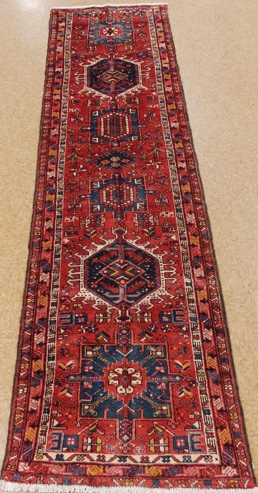 3 X 11 Persian Karajeh Tribal Hand Knotted Wool Rust Navy Oriental