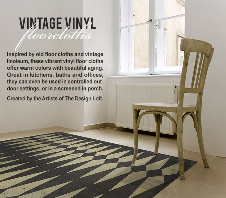 Inventive new product in floor coverings.  We love these Vintage Vinyl floorcloths.