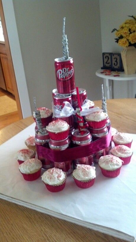 Dr.pepper birthday cake for my 16 year old nephew! The candles have rolled $20's in pipe cleaners. Sooo easy.