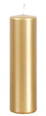 Blockljus i glansig guld metallic - 20 cm höga